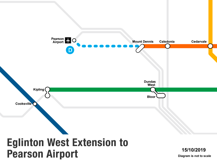 Map of Eglinton Crosstown West Extension